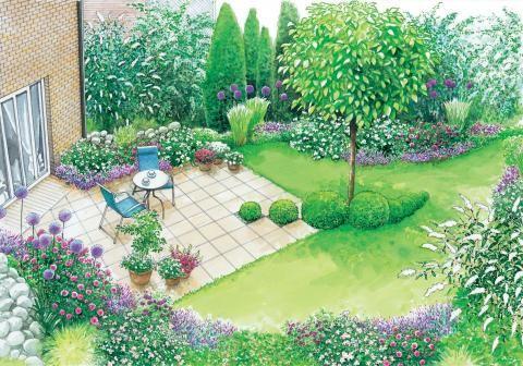 Terrasse und blattförmige Rasenfläche