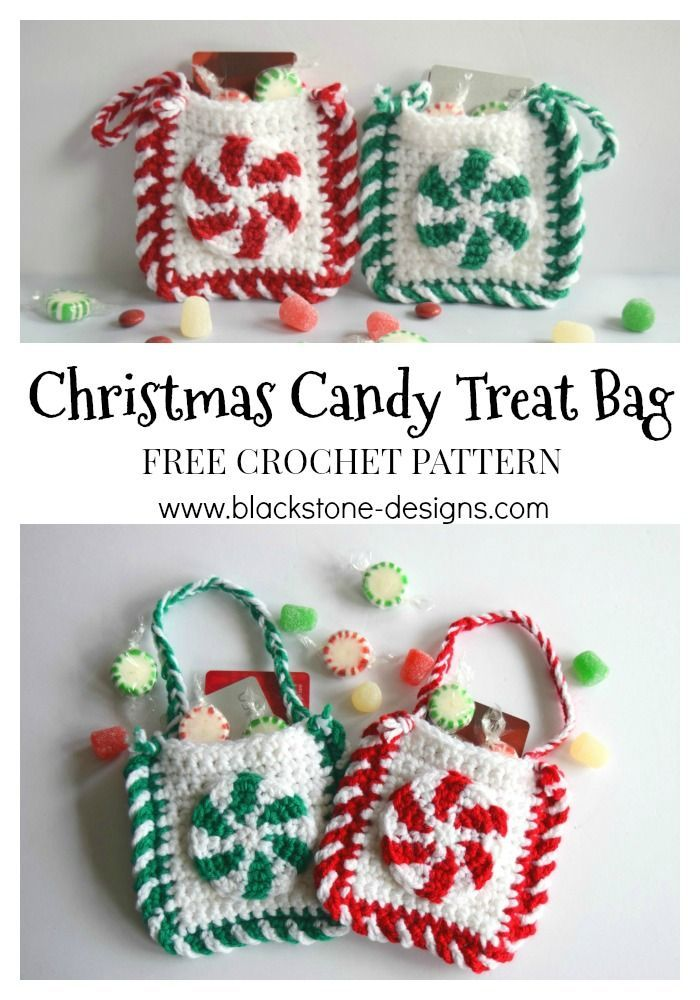 Christmas Candy Treat Bag free crochet pattern from Blackstone Designs Post includes a list of filler ideas.
