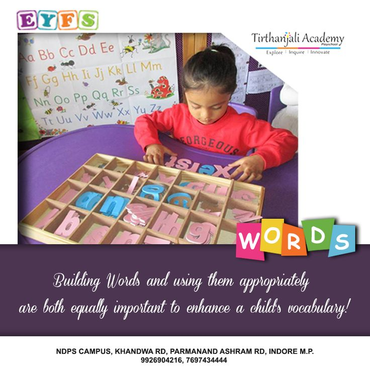 As a part of our EYFS curriculum we engage children in free flowing activities that are fun which also help them in word-building and using those words appropriately in their sentences. http://tirthanjaliacademy.in/ #bestplayschoolinindore #playschoolinindore #preschoolsinindore #nurseryschoolinindore