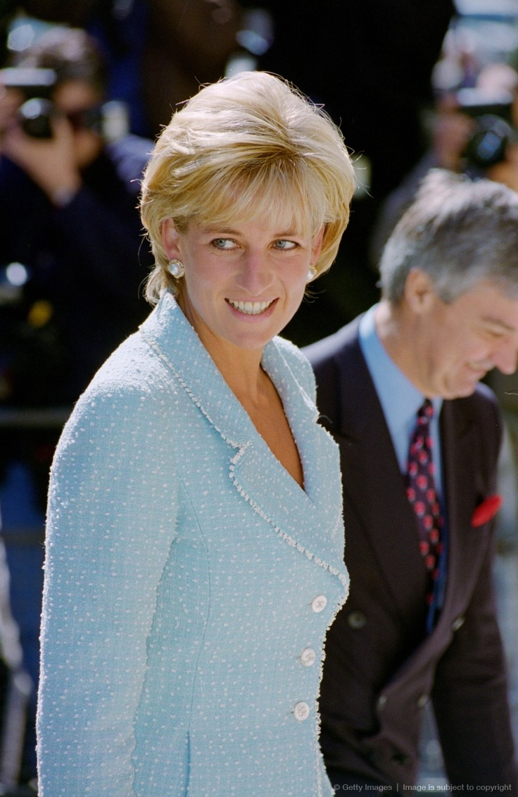 Diana, Princess of Wales arrives at the British Lung Foundation in Hatton Garden to be presented with a rose named after her.