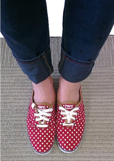 Red polkadot Keds... Totally about to get these, but got hot pink toms instead.