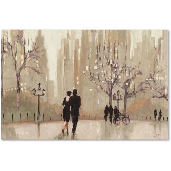 Julia Purinton 'An Evening Out Neutral' Canvas Art ($115) ❤ liked on Polyvore featuring home, home decor, wall art, canvas home decor, dog oil painting, landscape wall art, landscape painting und cityscape oil painting