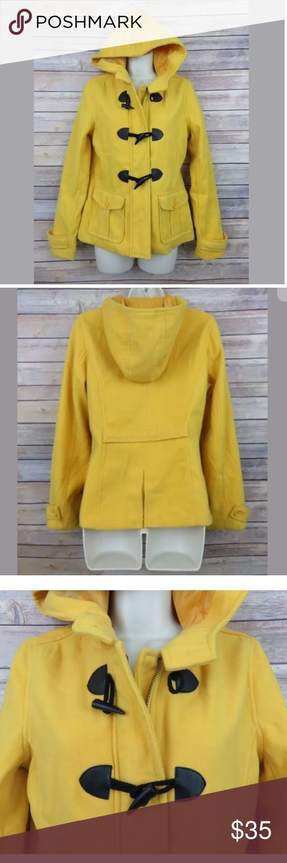 """Empyre yellow hooded toggle button jacket Empyre yellow peacoat toggle button coat - Womens Medium  New with tags - but there are a couple of light spots near the collar (see photo)  100% polyester - feels like a felt material  Zipper and toggle button front   Armpit to Armpit: 19"""" Shoulder to hem: 22"""" Empyre Jackets & Coats"""