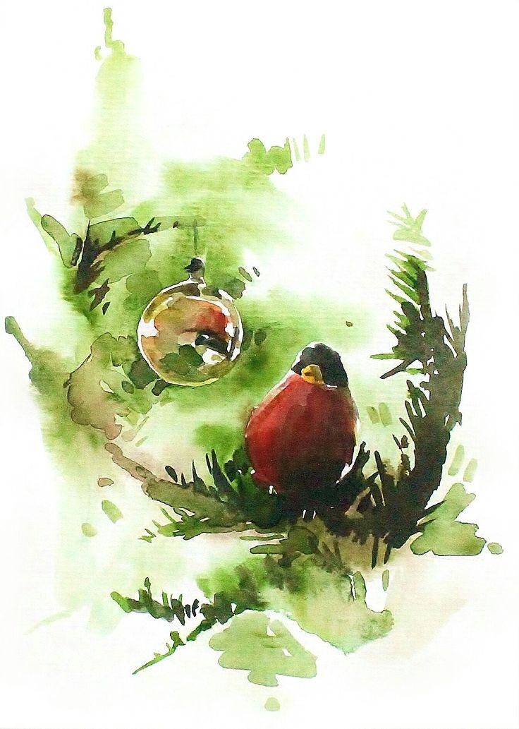 Julkort jag säljer. elisabethbistrom.se. /Christmas card I've made. #watercolor #watercolur #akvarell