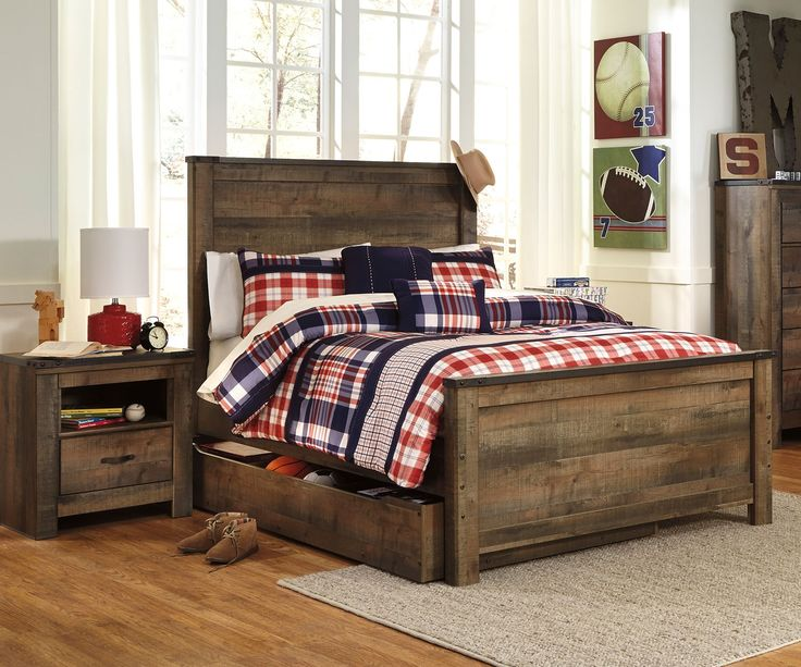 ★ Buy our Ashley Trinell B446 Full Size Panel Bed with Trundle at Kids Furniture Warehouse. ★ The Trinell Panel Bed B446 features a durable design with an authentic reclaimed barn wood look.