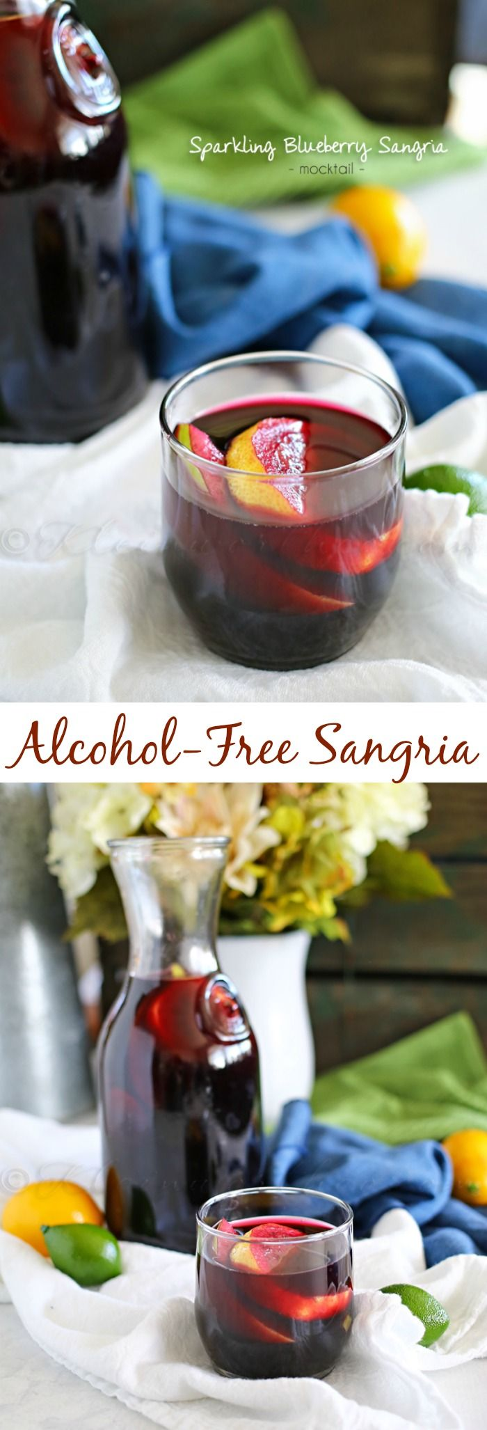 Sparkling Blueberry Sangria Mocktail. Great drink recipe for parties.