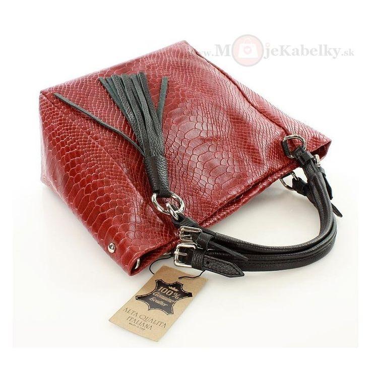 Kožená kabelka Mazzini červená koža - MK-VE-22341