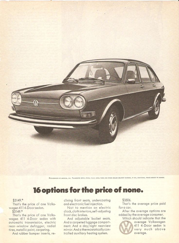 '16 options for the price of none.' Classic Volkswagen Ad.