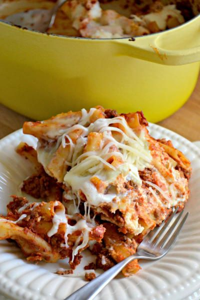 One pot baked ziti is complete and total comfort food. So easy to make, and only one pot to wash!