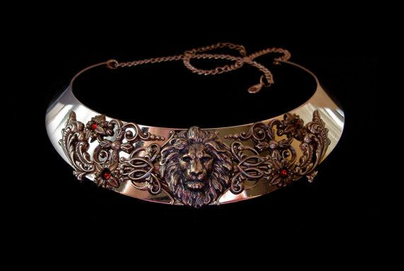 Lion Leo Necklace Medieval Renaissance Torc Middle Age Bronze Red Ruby Jewellery Cersei Lannister Game of Thrones Hear Me Roar
