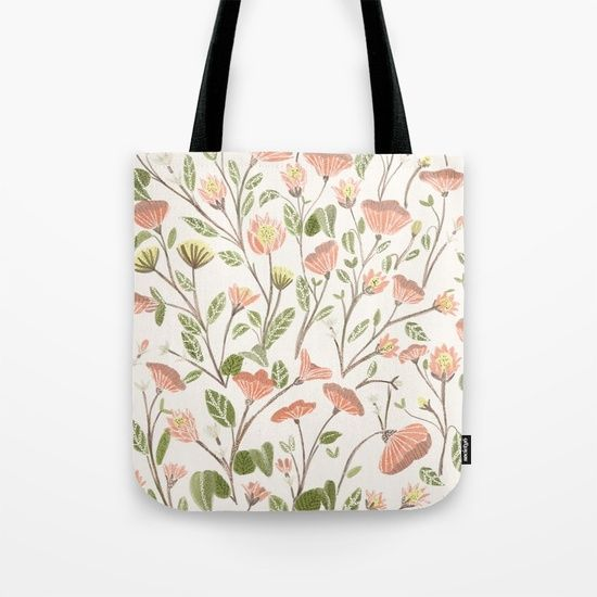 Spring Floral Pattern Tote Bag by Chotnelle. Worldwide shipping available  at Society6.com.