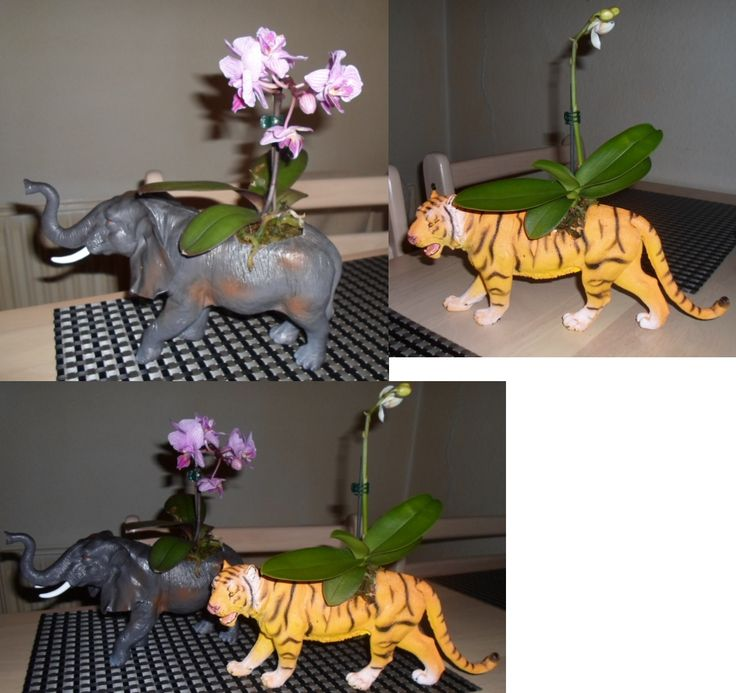 Flowers planted in the back of a plastic elephant and a plastic tiger.