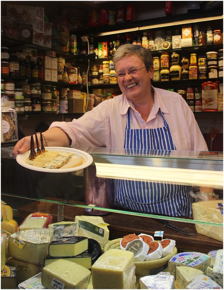 Tuula in her cheeseshop in the Old Market Hall