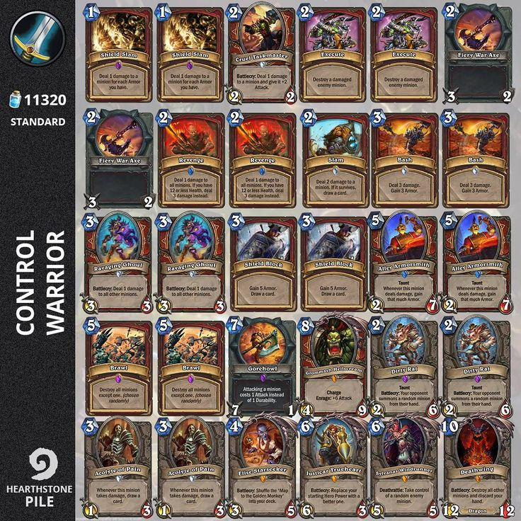 "Gefällt 281 Mal, 14 Kommentare - Hearthstone Pile (@hearthstone_pile) auf Instagram: ""#control  #warrior deck. Looks kind of old-school but after nerfs it shows up to be a solid…"""