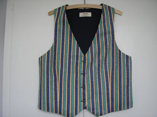 "Turquoise/Blue Ladies Striped Waistcoat 34"" - 36"""