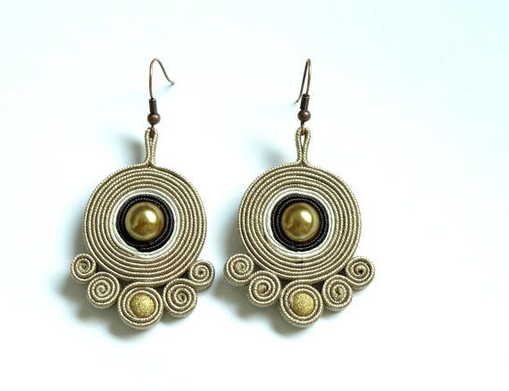 Soutache earrings dangle - gold beige brown white - soutache jewelry - gift for…