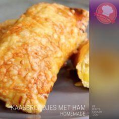 DeBonteKeuken: Kaasbroodjes met ham (bladerdeeg, boter, bloem, melk, mosterd, (oude) kaas, ei, (Parma) ham, borrelhapje, snack, oven, recept, makkelijk, simpel, homemade)