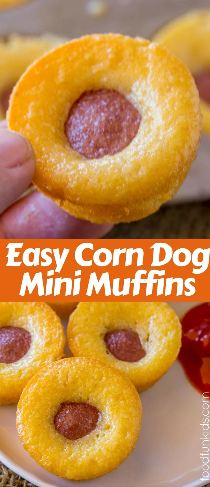 Corn Dog Mini Muffins with a cornbread base and hot dogs are a quick and easy snack or lunch for your little ones with just 4 ingredients! via @foodfunkids