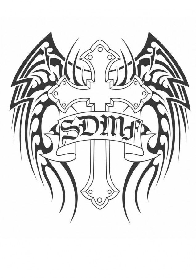 Tribal Wings And Cross Black And White Tattoo Design