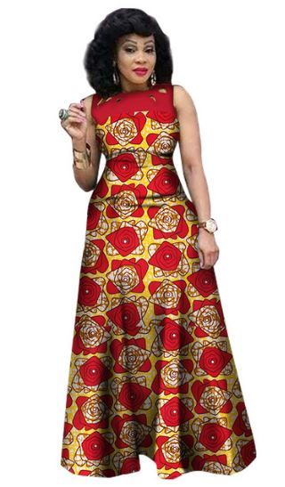 $48.07 #17 African Print African Sleeveless Sexy Dress Plus Size Dress BRW WY1341