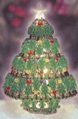 """7"""" Safety Pin Beaded Christmas Tree with instructions"""