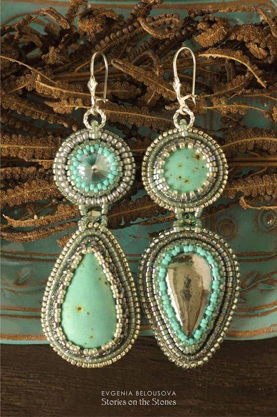 Wedding long earrings Bridesmaid statement earrings Wife gift blue jewelry Embroidered earrings Blue romantic earrings Large earrings women
