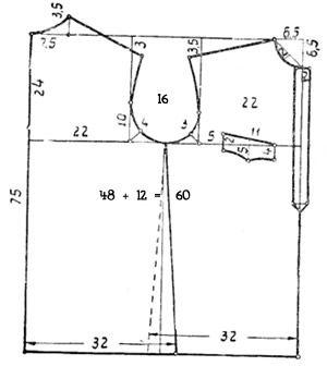 Построение выкройки мужской спортивной рубашки