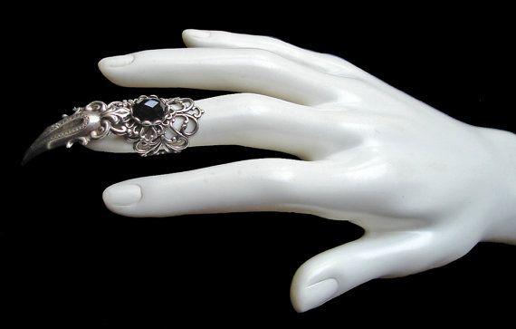Versilberte Claw Ring Gothic Gothic Prinzessin Juwel Vampir Hexe Finger Armor Rüstung schwarz Jet dunklen steinernen Katze Krallen Dragon Schmuck Schmuck