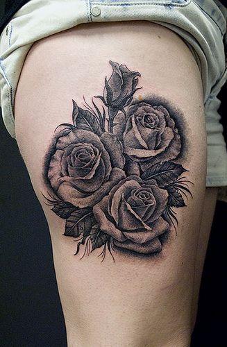 Rose Tattoo - black and grey