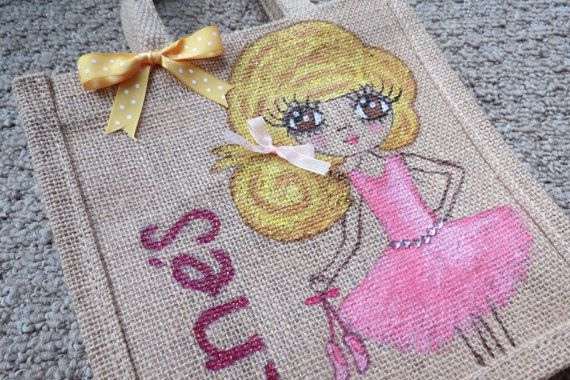 Small Jute bag, hand painted with personalised character and name.