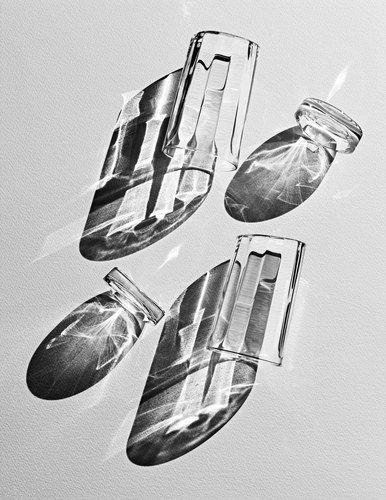 COPPI BARBIERI.  Glass.  Shadows.  Still Life. Black & White.