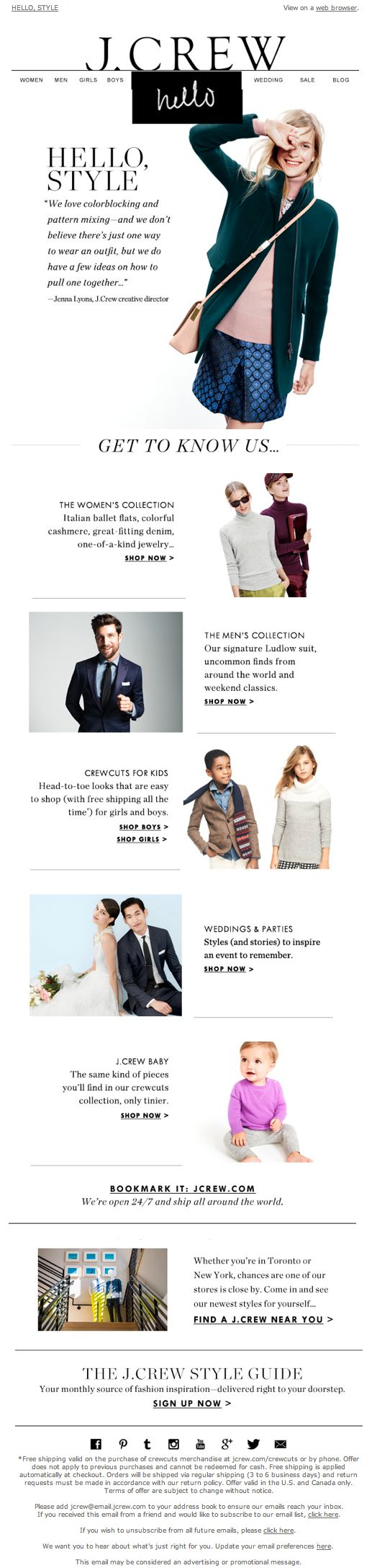 J. Crew  | welcome | WelcomeEmails | emailmarketing | email | newsletter | welcome newsletter | welcome email | WelcomeEmail | relationship emails | emailDesign