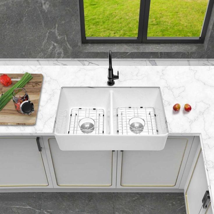 32 l x 20 w double basin farmhouse fireclay kitchen sink