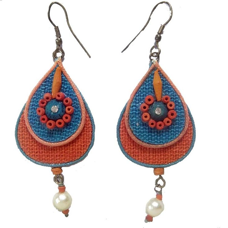 Handicraft ProductNew DesignStylish - Betel ShapedJute Work - Orange BlueStone Work