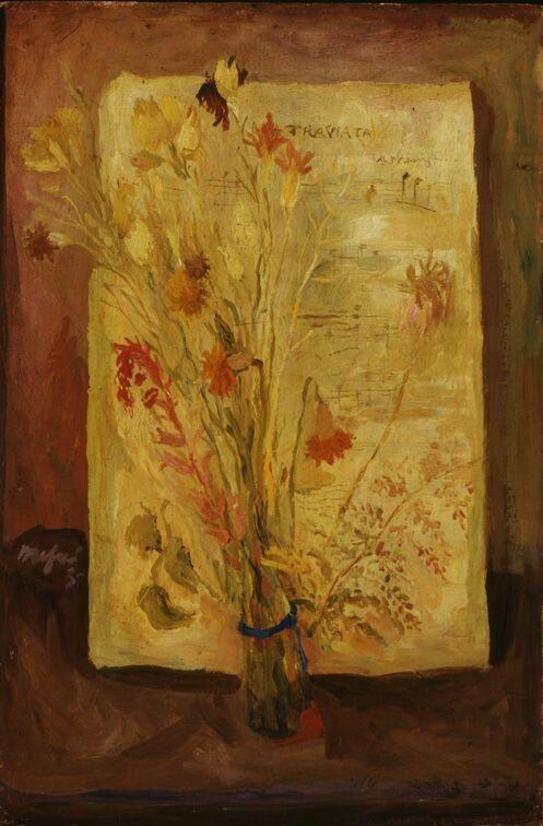 Mario Mafai fiori secchi e spartito della Traviata 1936 collezione Giovanardi