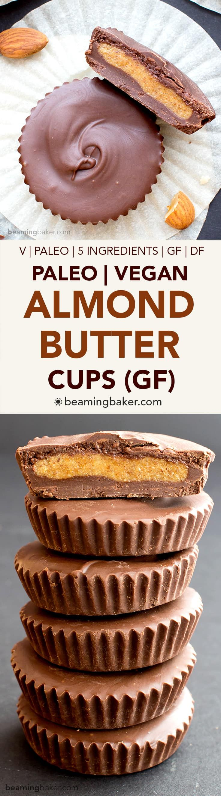 Paleo Almond Butter Cups (V, GF, DF): a 5 ingredient recipe for rich chocolate cups stuffed with smooth almond butter. Paleo, Vegan, Gluten Free, Dairy Free.