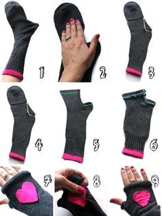 COMO HACER TUS GUANTES CON CALCETINES http://www.tuarmadioconeva.com/2014/10/como-hacer-tus-guantes-con-calcetines.html