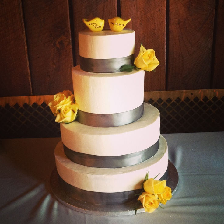 gray and yellow wedding cake bizcocho pinterest