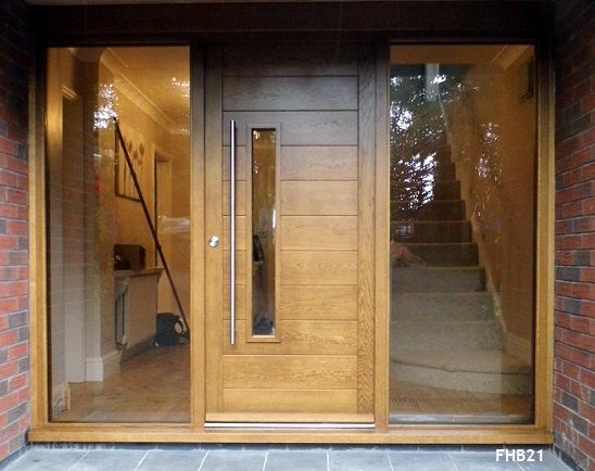 contemporary oak door and frame glazed sidelights                                                                                                                                                     More