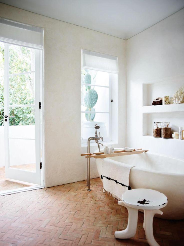 White bathroom with stone floor