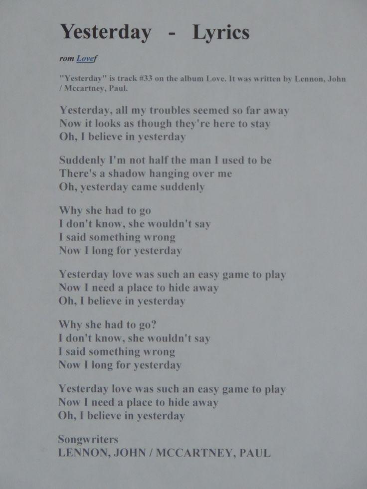 Free lyrics to beatles songs