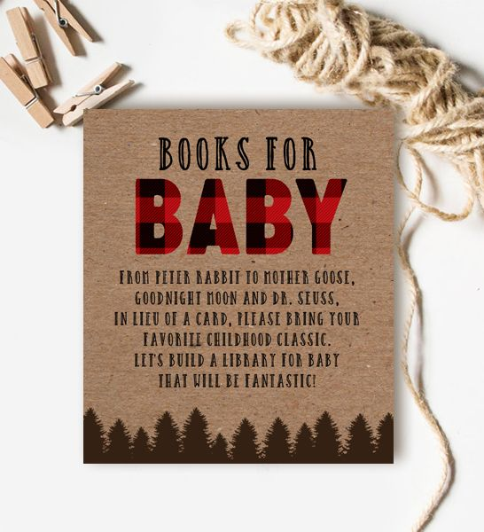 Baby Shower Insert Books for Baby Country Rustic Outdoor Bear Lumberjack   Instant Download Printable