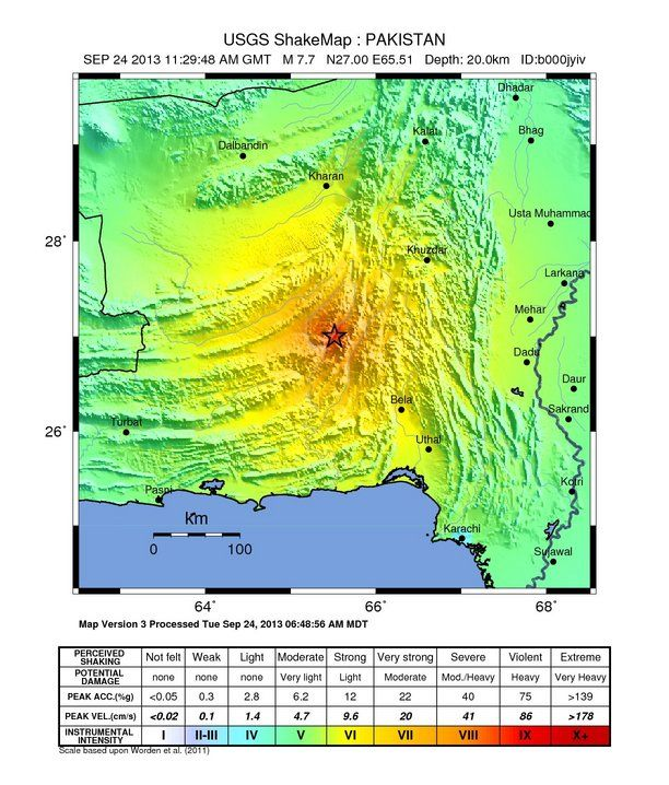 A map of the shaking intensity felt in different areas from the magnitude-7.7 earthquake that struck southern Pakistan at 7:28 a.m. EDT (11:28 UTC, or 4:28 p.m. local time) on Sept. 24, 2013.