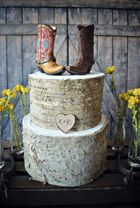 Western bride and groom cowboy boot wedding cake topper.