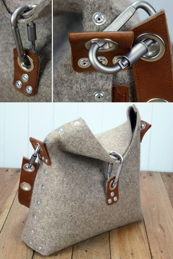 Felt Handbag which is handmade in London, from 3 mm industrial wool felt, and is assembled using pop rivets. The strap is made and attached to the bag