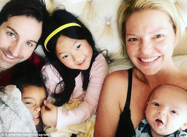 '...Makes me laugh!': Katherine Heigl, 38, shared an adorable family snap on Saturday...