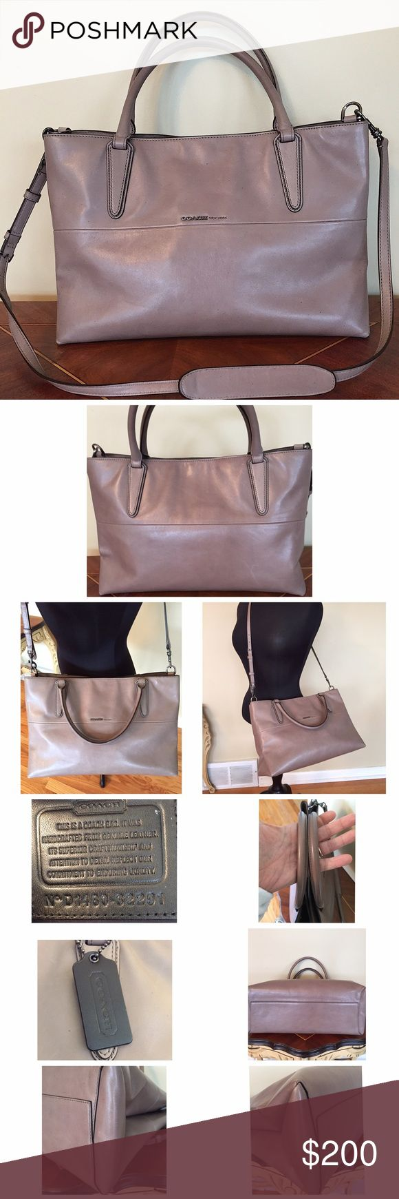 """Authentic Coach Borough Bag With Shoulder Strap Authentic Coach Borough Purse . Earth (Taupe) Gently Used Condition. Retro Glove Leather With Natural Flecks throughout & Creases. Has some wear due softness of leather. See photos. Inside clean. Shoulder strap included. No wear. Measurements appropriately 13 3/4"""" 14""""lol x 9 1/2"""" H x 5 1/2"""" D 4 1/2"""" H & 13 1/2 D Strap. Coach full price item. Sold out. Interior has 3 expandable compartments. Please ask all questions prior to buying. Refer to…"""