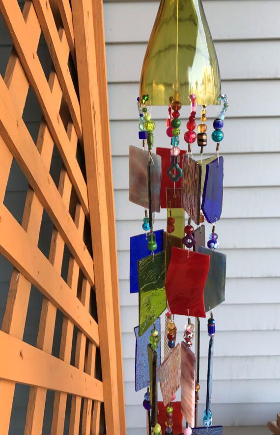 Wind Chime Sun Catcher Stained Glass.  Garden Art!
