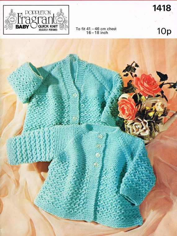 Poppleton 1418 baby matinee coat vintage knitting by Ellisadine, £1.00