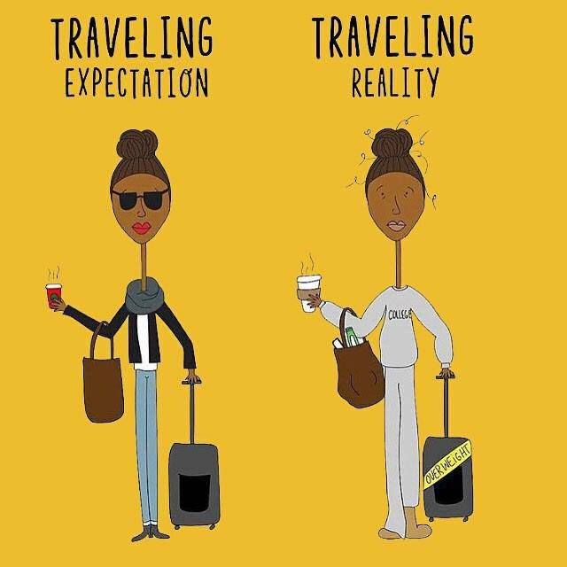 #Travel Humor - How come the expectation of chic travel never meeting the reality?